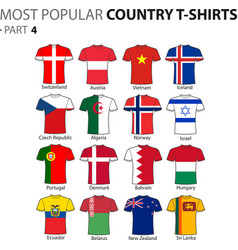 Most popular country t-shirts part 4 vector