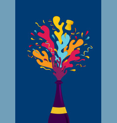 new year colorful party champagne bottle splash vector image