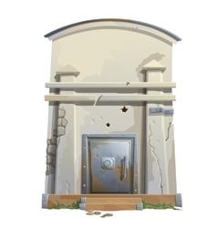 Old bunker with a massive steel door vector