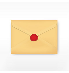 Realistic envelope with wax stamp vector image vector image