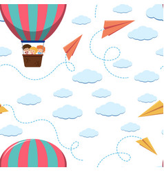 Seamless background template with kids on balloon vector