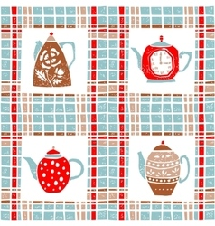 Seamless pattern in lino style teapots pastel vector image vector image