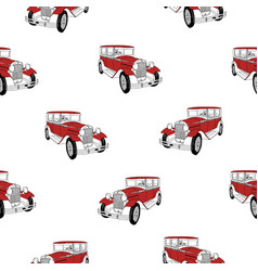 seamless pattern with red luxury retro car on vector image vector image