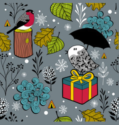 seamless winter pattern with cute doodle birds in vector image vector image