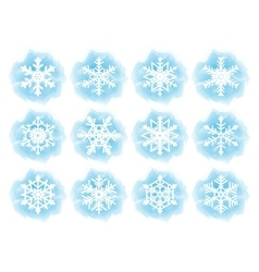 Set of flat snowflake icons vector image vector image