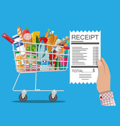 shopping cart with food and drinks receipt vector image