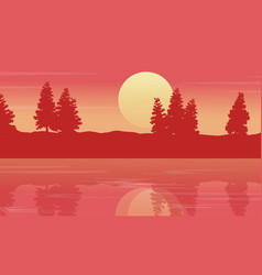 Silhouette of lake with spruce lined landscape vector