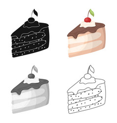 sweet cake with cherry and leafparty and parties vector image
