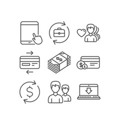 Usd currency tablet pc and human resources icons vector