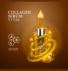 Vital serum golden dropper bottle on light brown vector