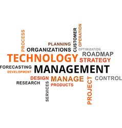 word cloud technology management vector image