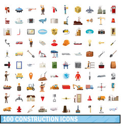 100 construction icons set cartoon style vector