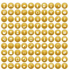 100 ice cream icons set gold vector