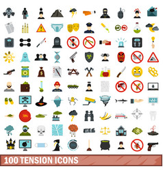 100 tension icons set flat style vector