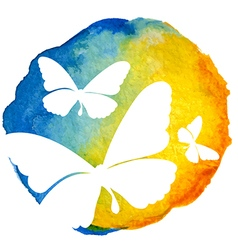 Butterflies in watercolor circle vector
