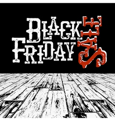 Black friday retro typography logo in black room vector