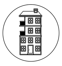 Monochrome contour circle of apartment with vector