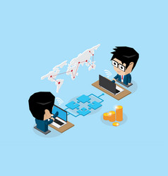 Businessmen connecting online by jigsaw puzzle vector