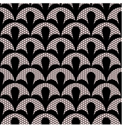 Seamless black lace pattern on pink background vector