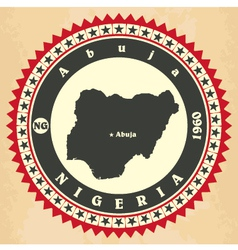 Vintage label-sticker cards of nigeria vector
