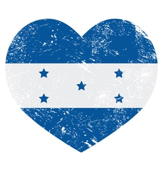 Honduras retro heart shaped flag vector image