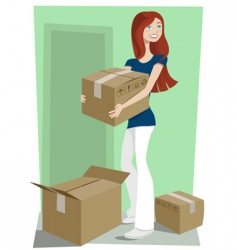 Girl with boxes vector