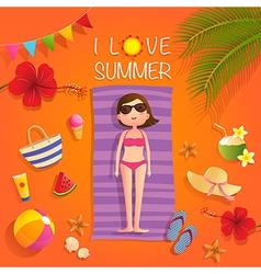 I love summer vector image