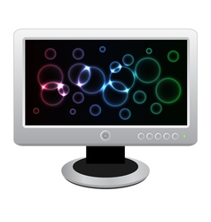 White lcd monitor with bright neon display vector