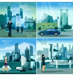 Modern cityscapes 4 flat icons square vector