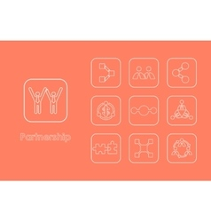 Set of partnership simple icons vector