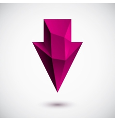 3d magenta down arrow vector image