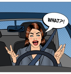 Angry woman driver aggressive woman pop art vector