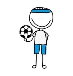 Drawing boy with balloon soccer isolated icon vector