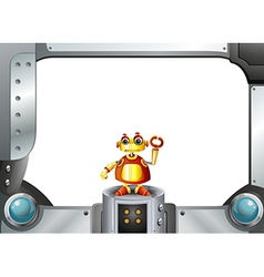 A colorful robot in the middle of the empty frame vector