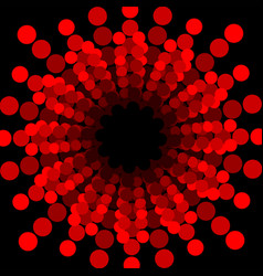 Abstract circle shape composed of dots red dotted vector