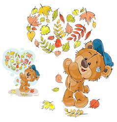 autumn of a brown teddy bear vector image vector image