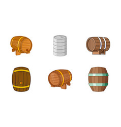 Barrel icon set cartoon style vector