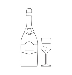 Bottle and glass of champagne vector