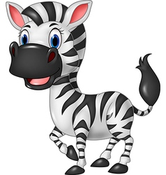 Cartoon funny zebra posing isolated vector image