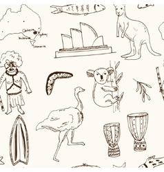 Collection of australia doodle seamless vector