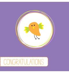 Congratulations card with cute orange bird vector