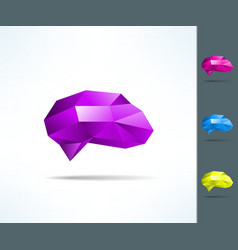 Creative brain in low poly geometrical design vector