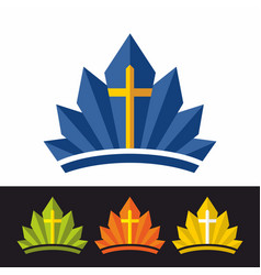 Crown and cross vector