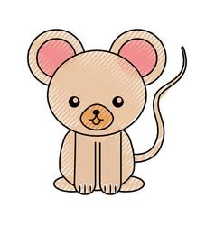 Cute scribble mouse cartoon vector