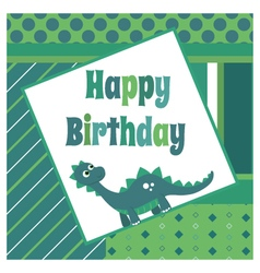 Dinosaur birthday card vector