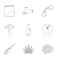 Drugs set icons in outline style Big collection vector image vector image