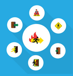Flat icon door set of fire exit open door vector