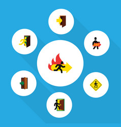 Flat icon emergency set of exit entrance vector