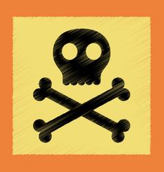 Flat shading style icon halloween skull bones vector