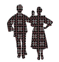 Folklore dancers in patterned ethnic motifs vector